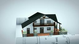 Recreational House on Project Blueprint, blue tint with Alpha Animation