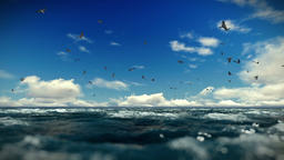 Rough sea and seagulls, timelapse clouds, sound included Animation