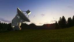 Satellite Antenna on Green Meadow, timelapse sunrise, camera panning Animation