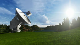 Satellite Antenna on Green Meadow, searching for signal, timelapse Animation