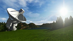 Satellite Antenna on Green Meadow, timelapse, camera panning Animation