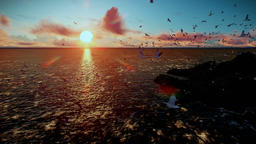Rough sea and timelapse clouds, sunrise, camera fly over isolated island, sound  Animation