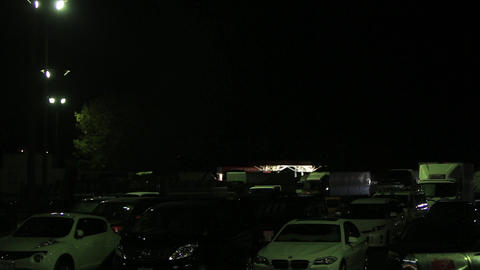 Motorway service area late at night Footage