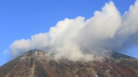 Summit and clouds of the famous mountain/日光の男体山、山頂 ビデオ
