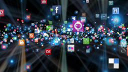 Social Network Icons flying, shine, black GIF 動畫