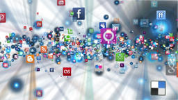 Social Network Icons flying, shine, white GIF 動畫