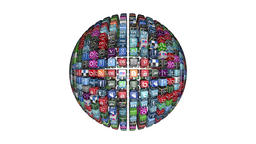 Social Network Icons sphere, white Animation