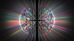 Social Network Icons Sphere Rotating, shine, black Animation