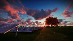 Solar pannels, time lapse sunrise, aerial view Animation