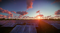 Solar pannels, timelapse sunset, aerial view Animation