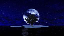 Solitary island and tree surrounded by ocean against full moon, snowing Animation