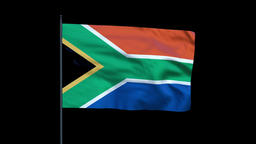 South Africa Flag Waving, Seamless Loop Animation