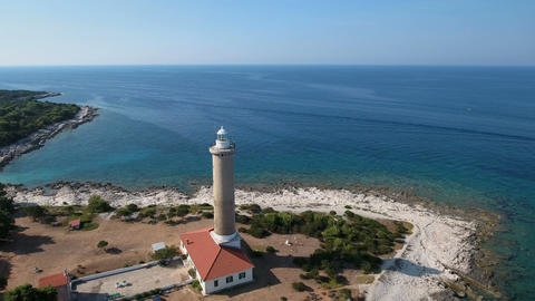 Aerial - Flying around lighthouse Punta Bjanca in the Adriatic Footage