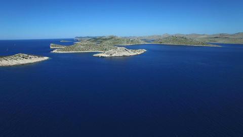 Aerial - Flying toward Kornati Islands also known as the Stomorski islands Footage