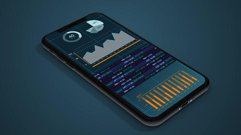 3D animation of Data charts and graphs being displayed on a smartphone. Financial stock market Animation