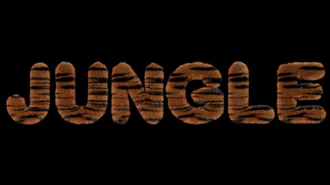 3d animated text spelling jungle, made of fury Tiger striped letters Animation