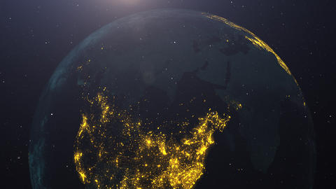 USA on Earth pulsing with colors at night. Great textless background video with room for your text. Animation