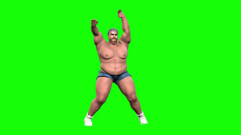 836 4K EXERCISE WEIGHT 3D computer generated fat morph man through exercise reduces weight CG動画
