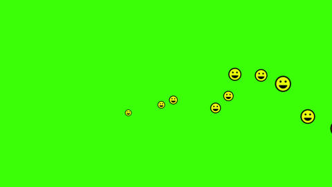 Happy face reaction icon, and hearts social media live video isolated on green background. Network Videos animados