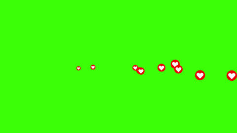 Social media Live style animated heart on green screen and alpha matte. Horizontal on screen. 4K 2D Animation