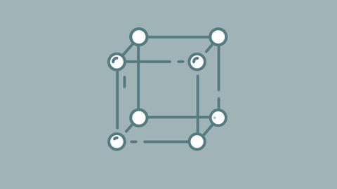 Atomic Cube line icon on the Alpha Channel Animation