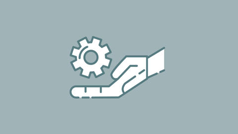 Robot Hand and Gear line icon on the Alpha Channel Animation