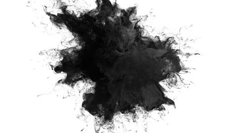 Smoke Burst - black powder explosion. Fluid ink particles alpha channel Animation