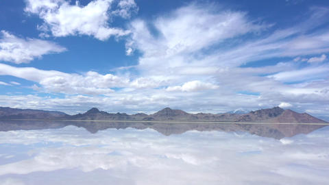 View of clouds reflecting in water over the Bonneville Salt Flats Live Action