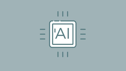 Central Processing Unit line icon on the Alpha Channel Animation