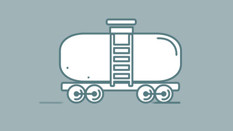 Oil Tank Wagon line icon on the Alpha Channel Videos animados