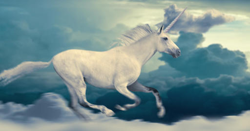 Unicorn Running in Clouds Animation