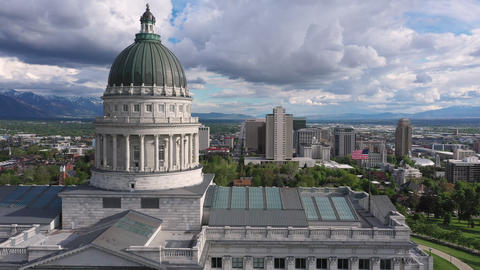 Aerial view of downtown Salt Lake City while flying past the Capitol Live Action
