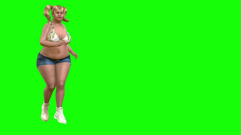 831 4K SPORT HEALTH 3D computer morph generated fat unhappy girl run on treadmill and changes to CG動画