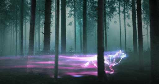 Glowing Wolf in Forest CG動画