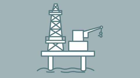 Oil Platform line icon on the Alpha Channel Animation