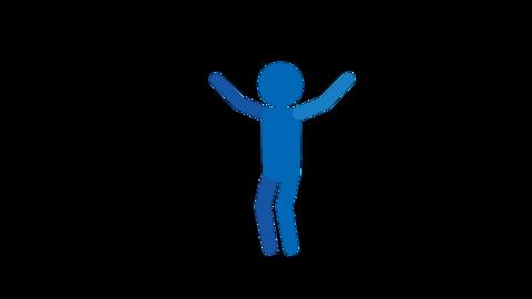 バイバイ ジャンプ両手 ピクトグラム人物 ループアニメ CG動画