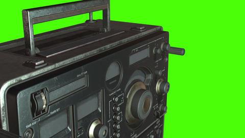 animation of vintage old radio on green screen Animation