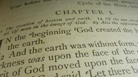 Book of Genesis Chapter 1:1 creation verse, & Old Testament Bible leather cover Live Action