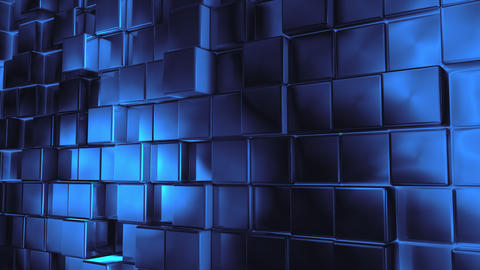 Abstract blue metallic cubes background pattern wall. 3D Projection Mapping Animation