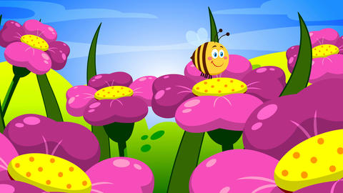 Cute Bee Cartoon Character Flying On Flowers Animation