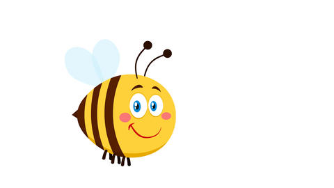 Smiling Cute Bee Cartoon Character Flying Animation