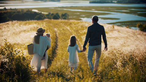 Young family of four members walking down to the wheat field Live Action