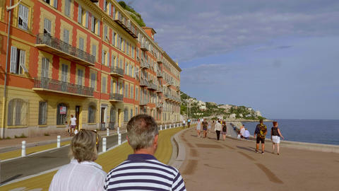 Beautiful seafront of Nice at the Cote D Azur - CITY OF NICE, FRANCE - JULY 10 Live Action