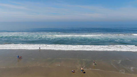 Aerial view of Huntington beach during sunny summer day Live Action