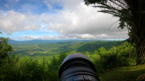 Time lapse of lens and camera shooting landscape forest and mountain Live Action