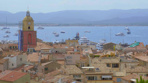 Aerial view over the city of Saint Tropez historic district- ST TROPEZ, FRANCE - Live Action