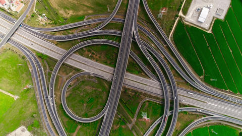 Aerial View Highway Multi-level Junction Road with Moving Cars Cars Are Moving on a Multi-level Live Action
