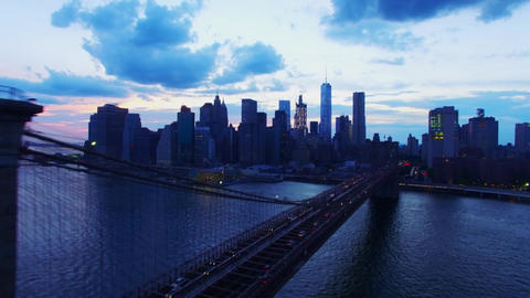 Aerian Real Time Shot of Brooklyn Bridge and Downtown Manhattan in New York at Dusk 2 Live Action