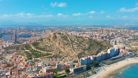 Alicante Spain Aerial View on the City Against the Sea with a View of the Mountain and Fortress Live Action