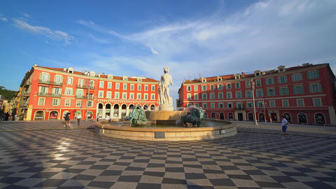 Massena Square in Nice- CITY OF NICE, FRANCE - JULY 12, 2020 Live Action